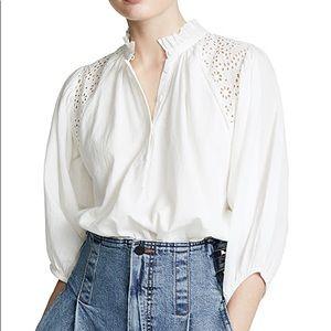 Apiece Apart Vera eyelet ruffle button blouse white 8
